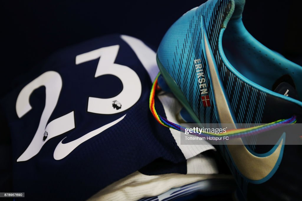 A detailed view of Christian Eriksen of Tottenham Hotspur's kit, with rainbow laces, prior to the Premier League match between Tottenham Hotspur and West Bromwich Albion at Wembley Stadium on November 25, 2017 in London, England.