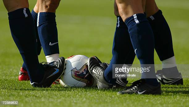 A detailed view of cleats on the ball prior to the match between the USA and Germany in the semifinals of the FIFA Women's World Cup on October 5...