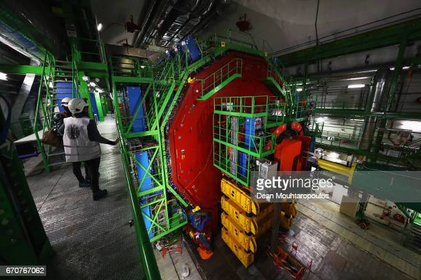 A detailed view of CMS or Compact Muon Solenoid experimental cavern during a behind the scenes tour at CERN the World's Largest Particle Physics...