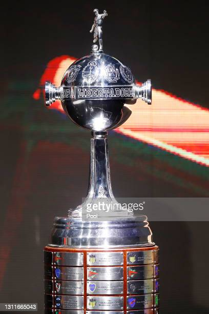 Detailed view of Copa Libertadores trophy during the official draw of Group Stage of Libertadores 2021 at CONMEBOL Headquarters on April 09, 2021 in...