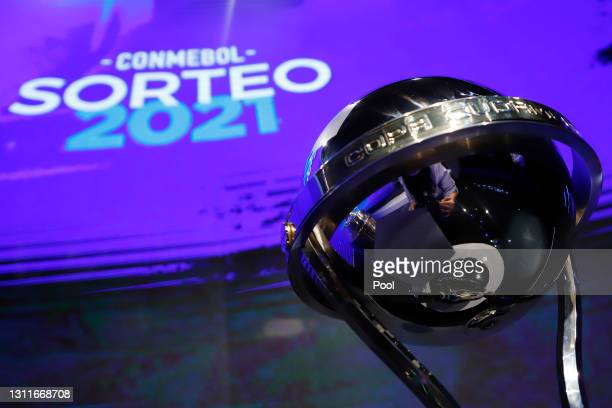 Detailed view of Copa Sudamericana trophy during the official draw organized by CONMEBOL in its headquarters on April 09, 2021 in Asuncion, Paraguay.