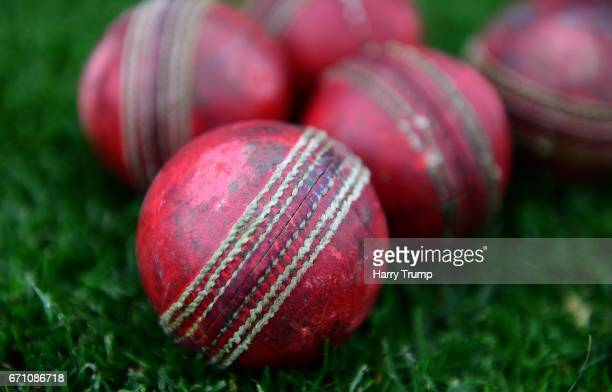 Detailed view of cricket balls during Day One of the Specsavers County Championship Division Two match between Gloucestershire and Durham at The...