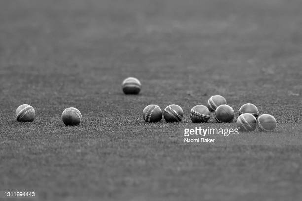 Detailed view of cricket balls during the LV= Insurance County Championship match between Sussex and Lancashire at Emirates Old Trafford on April 09,...