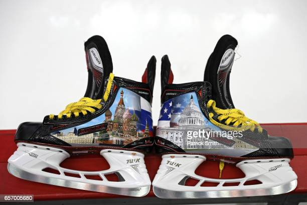 A detailed view of custom ice skates to be worn by Alex Ovechkin of the Washington Capitals during warmups are seen before the Washington Capitals...