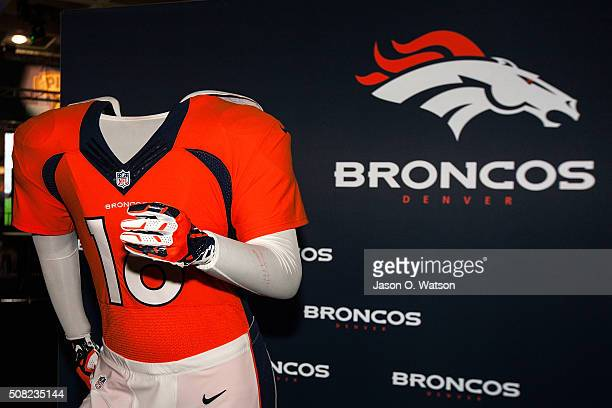 Detailed view of Denver Broncos jersey on display during the NFL Experience exhibition before Super Bowl 50 at the Moscone Center on February 3 2016...