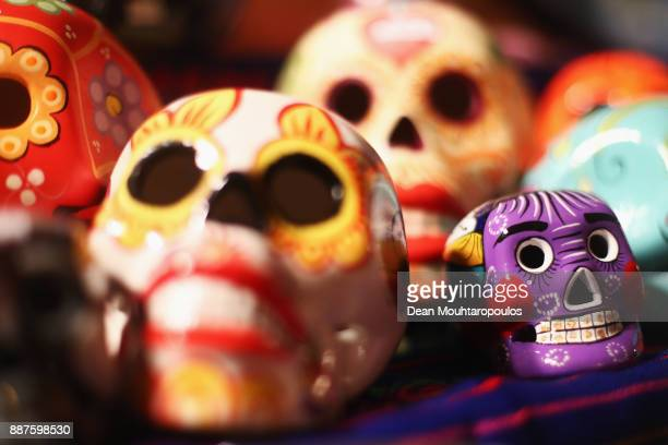 A detailed view of Dia de los Muertos or Day of the Dead decorated skulls at the Valkenburg Christmas Market the largest underground Christmas market...