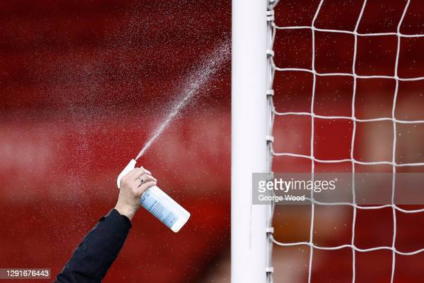Detailed view of disinfectant being sprayed on the goal post at half time during the Sky Bet Championship match between Middlesbrough and Luton Town...