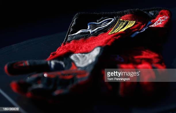 Detailed view of drivers gloves on a dashboard during practice for the NASCAR Camping World Truck Series WinStar World Casino 350 at Texas Motor...
