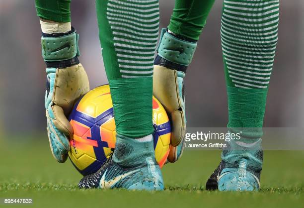 A detailed view of Ederson of Manchester City collecting the ball during the Premier League match between Manchester City and Tottenham Hotspur at...