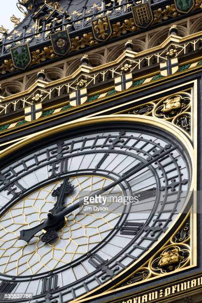 A detailed view of Elizabeth Tower better known as 'Big Ben' on August 15 2017 in London England As part of extensive restoration works the famous...