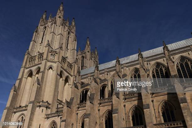 A detailed view of exterior of Washington National Cathedral prior to Sunday Mass being livewebcast to its parishioners due to the Coronavirus at an...