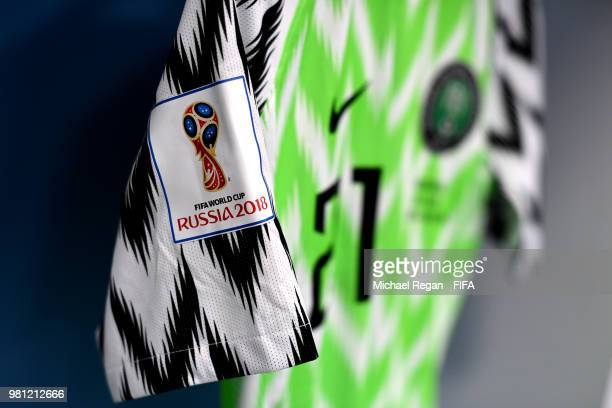 Detailed view of FIFA World Cup logo on shirt of Tyronne Ebuehi inside the Nigeria dressing room prior to the 2018 FIFA World Cup Russia group D...