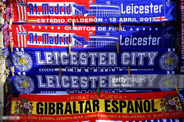Detailed view of flags ahead of the UEFA Champions League Quarterf inal first leg match between Club Atletico de Madrid and Leicester City at Vicente...