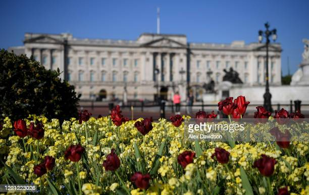 A detailed view of Flowers outside Buckingham Palace on April 26 2020 in LondonEngland The British government has extended the lockdown restrictions...