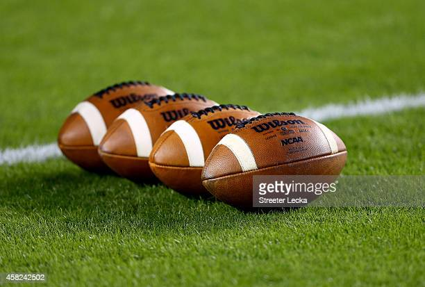 A detailed view of footballs on the field during warm ups prior to the game between the Tennessee Volunteers and South Carolina Gamecocks at...