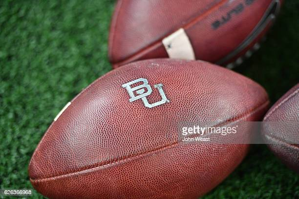 Detailed view of footballs used by the Baylor Bears during the game between the Texas Tech Red Raiders and the Baylor Bears on November 25 2016 at...