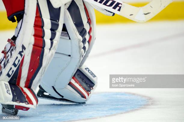 A detailed view of goalie knee pads during the second period in a game between the Columbus Blue Jackets and the Arizona Coyotes on December 09 2017...