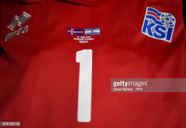 A detailed view of Hannes Halldorsson of Iceland's shirt inside the dressing room prior to the 2018 FIFA World Cup Russia group D match between...