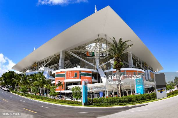 A detailed view of Hard Rock Stadium before the game between the Miami Hurricanes and the Florida International Golden Panthers at Hard Rock Stadium...