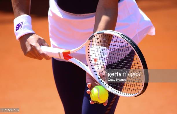 A detailed view of Heather Watson in action during the Fed Cup World Group II Play Off match between Great Britain and Romania on April 22 2017 in...