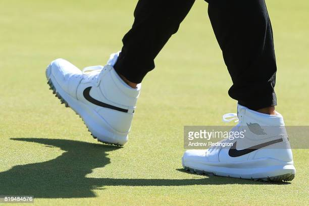 A detailed view of Jason Day of Australia's Jordan 1 golf shoes during the first round of the 146th Open Championship at Royal Birkdale on July 20...