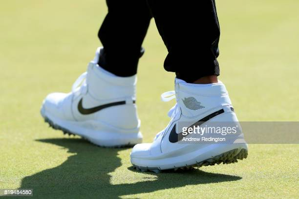A detailed view of Jason Day of Australia's Jordan 1 golf shoes during the  first round