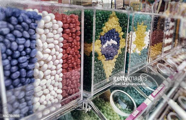 A detailed view of Jelly Beans arranged flags of France Brazil and Germany the at the Barra Shopping Centre on June 16 2014 in Porto Alegre Brazil