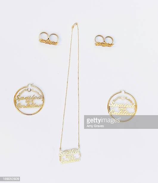 A detailed view of Josie Goldberg's Spoiled and Entitled jewelry Collection on December 19 2012 in West Hollywood California
