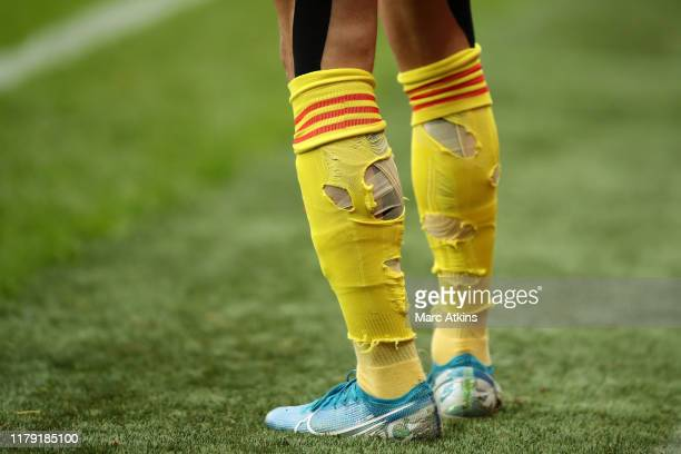 Detailed view of Kiko Femenia of Watford socks during the Premier League match between Watford FC and Sheffield United at Vicarage Road on October...