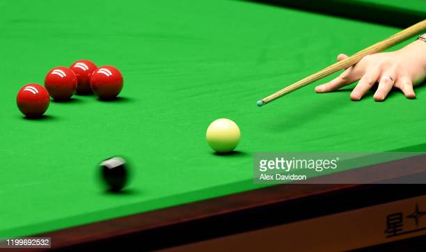 Detailed view of Kyren Wilson's shot during the 1st round match between Jack Lisowski and Kyren Wilson on Day Four of the Dafabet Masters at...