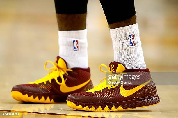 A detailed view of Kyrie Irving of the Cleveland Cavaliers' sneakers during Game Four of the Eastern Conference Finals of the 2015 NBA Playoffs...