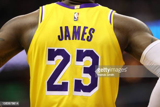 Detailed view of LeBron James of the Los Angeles Lakers jersey against the Washington Wizards at Capital One Arena on December 16, 2018 in...