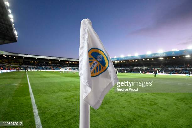 Detailed view of Leeds United crest is seen on corner flag prior to the Sky Bet Championship match between Leeds United and Norwich City at Elland...