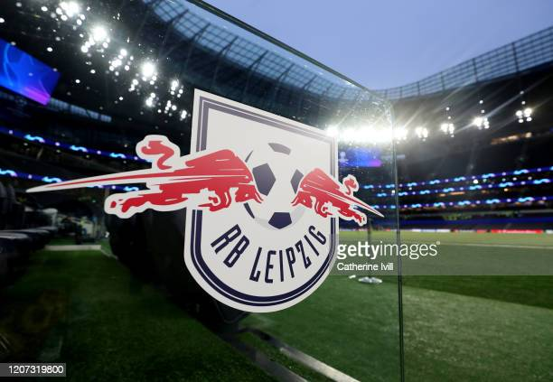 A detailed view of Leipzig logo prior to the UEFA Champions League round of 16 first leg match between Tottenham Hotspur and RB Leipzig at Tottenham...