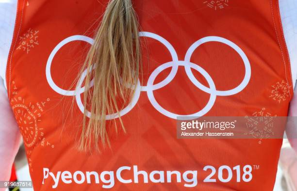 Detailed view of Lindsey Vonn of the United States' hair and bib during the Alpine Skiing Women's Downhill training on day nine of the PyeongChang...