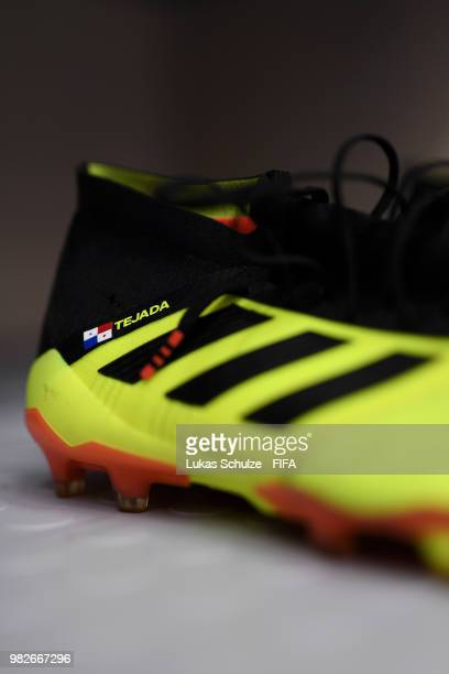 A detailed view of Luis Tejada's boots is seen inside the Panama dressing room prior to the 2018 FIFA World Cup Russia group G match between England...