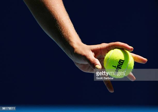 A detailed view of Maria Kirilenko of Russia serving in her quarterfinal match against Jie Zheng of China during day nine of the 2010 Australian Open...