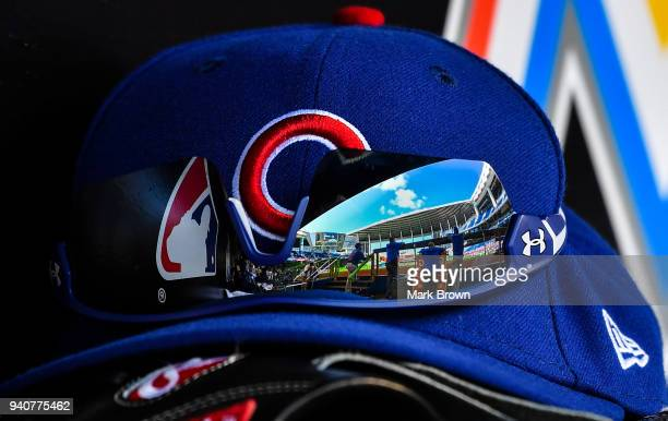 A detailed view of Marlins Park reflected in the Under Armor glasses of Javier Baez of the Chicago Cubs against the Miami Marlins at Marlins Park on...