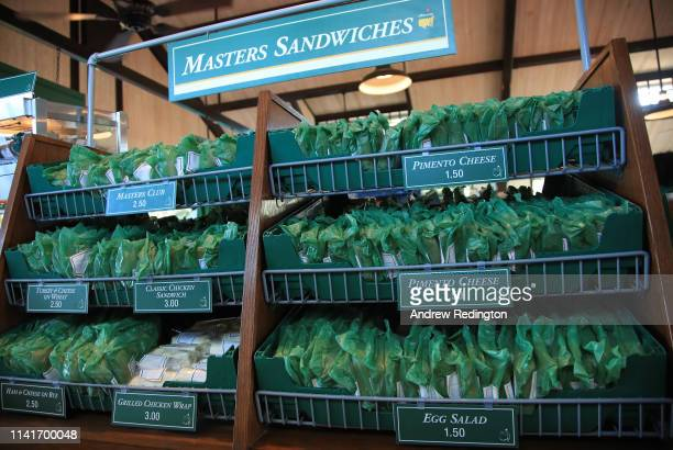 Detailed view of Masters sandwiches during a practice round prior to the Masters at Augusta National Golf Club on April 10, 2019 in Augusta, Georgia.