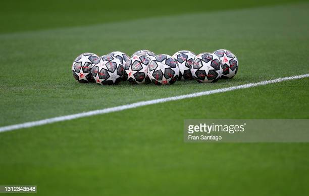Detailed view of match balls prior to the UEFA Champions League Quarter Final Second Leg match between Chelsea FC and FC Porto at Estadio Ramon...