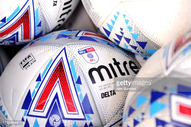 Detailed view of Mitre training balls prior to the Sky Bet Championship match between Fulham and Bristol City at Craven Cottage on December 07, 2019...