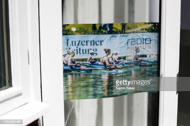 A detailed view of motivational pictures stuck on glass doors so they can be seen when Rower Rebecca Girling of the Team Great Britain Rowing Team...