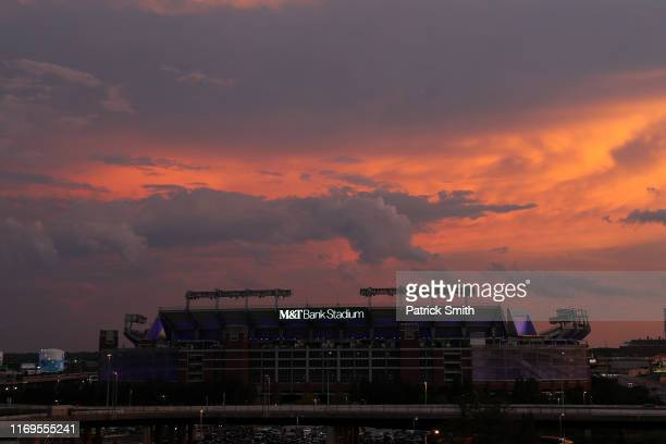 A detailed view of MT Bank Stadium where the Baltimore Ravens NFL football team plays is seen under a sunset on August 21 2019 in Baltimore Maryland
