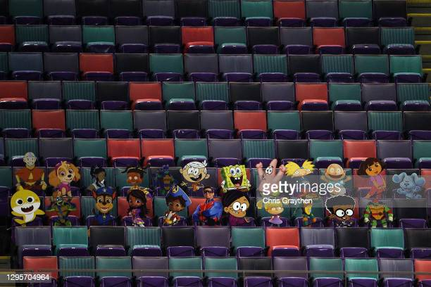Detailed view of Nickelodeon cartoon characters cardboard cutouts are seen in the stands during the fourth quarter in the NFC Wild Card Playoff game...