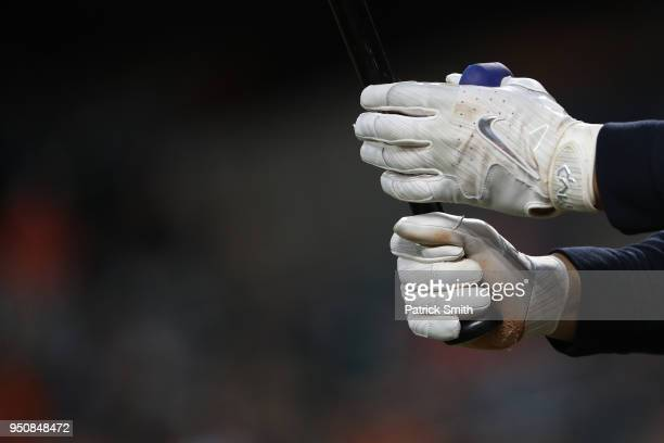 Detailed view of Nike baseball gloves at Oriole Park at Camden Yards on April 23 2018 in Baltimore Maryland