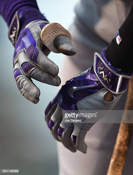 A detailed view of NIKE batting gloves worn by Trevor Story of the Colorado Rockies during the game against the Pittsburgh Pirates on May 21 2016 at...