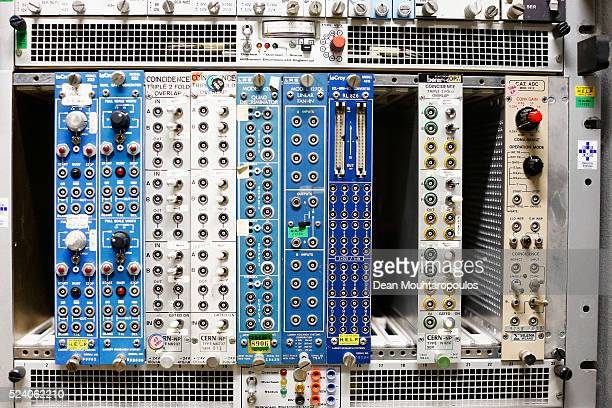 A detailed view of one of the machines in the Crystal Laboratory at The European Organization for Nuclear Research commonly know as CERN on April 20...