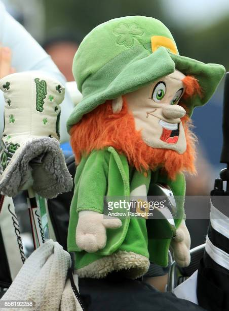 A detailed view of Paul Dunne's leprechaun headcover during day four of the British Masters at Close House Golf Club on October 1 2017 in Newcastle...