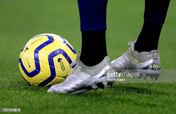 Detailed view of Paulo Gazzaniga of Tottenham Hotspur warming up with the ball at his feet during the Premier League match between Tottenham Hotspur...