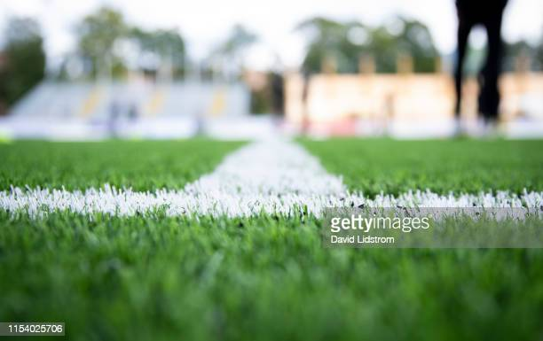 Detailed view of pitch ahead of the Allsvenskan match between IK Sirius FK and Ostersunds FK at Studenternas IP on July 6 2019 in Uppsala Sweden